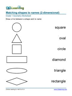 Matching shapes to names (2-dimensional)