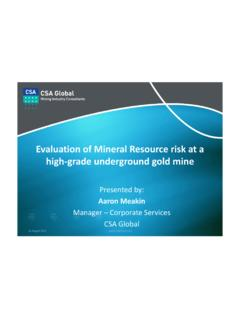 of Mineral Resource risk at a grade underground …