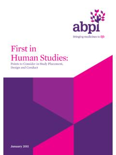 First in Human Studies - ABPI