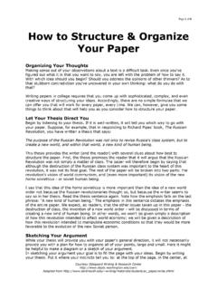 How to Structure & Organize Your Paper