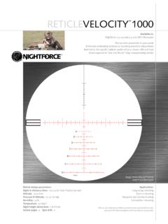 RETICLEVELOCITY 1000 - Nightforce Optics