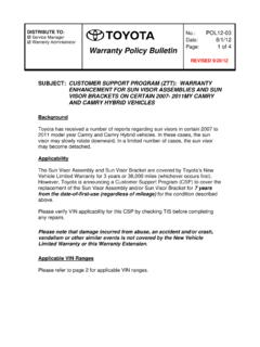 Warranty Policy Bulletin 1 of 4 - Fixed-Ops