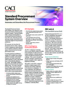 Standard Procurement System Overview - CACI
