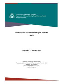 Geotechnical considerations open pit audit guide