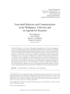 Nonverbal Behavior and Communication in the Workplace
