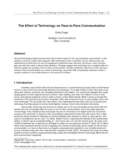 The Effect of Technology on Face-to-Face Communication