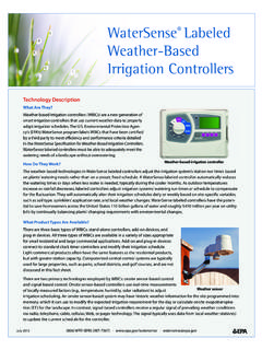 WaterSense Labeled Weather-Based Irrigation Controllers
