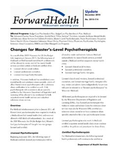 Changes for Master's-Level Psychotherapists - Wisconsin