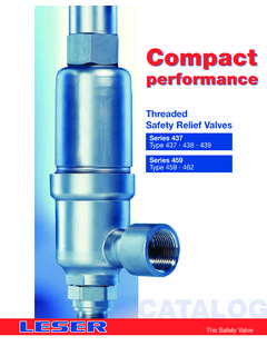 Leser Compact Performance Threaded Safety Relief Valves