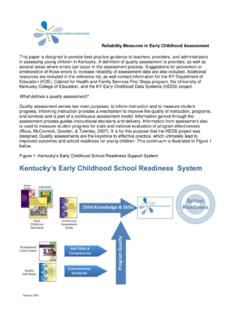 Reliability Measures in Early Childhood Assessment - Keds