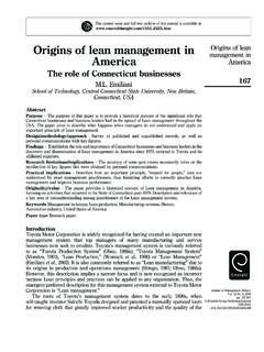 Origins of lean management in Origins of lean America