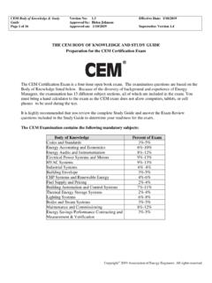 THE CEM BODY OF KNOWLEDGE AND STUDY GUIDE …
