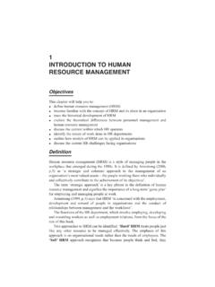 1 INTRODUCTION TO HUMAN RESOURCE MANAGEMENT