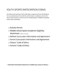 YOUTH SPORTS PARTICIPATION FORMS - …