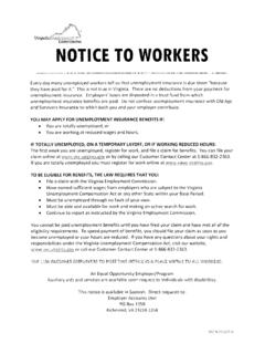 Unemployment Insurance: Notice to Workers (VEC …