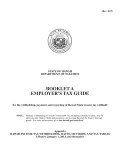 BOOKLET A EMPLOYER'S TAX GUIDE - files.hawaii.gov