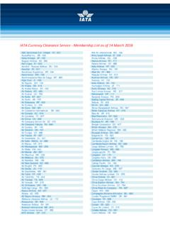 IATA Currency Clearance Service - Membership List as of 14 ...