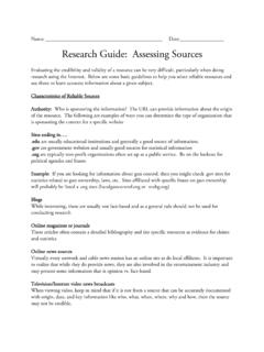 Research Guide: Assessing Sources - PBS