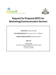 Request for Proposal (RFP) For Marketing/Communication ...