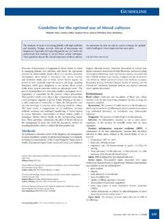 GUIDELINE Guideline for the optimal use of blood cultures