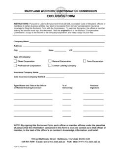 MDWCC Exclusion Form IC-16 v. 1/2011 - wcc.state.md.us