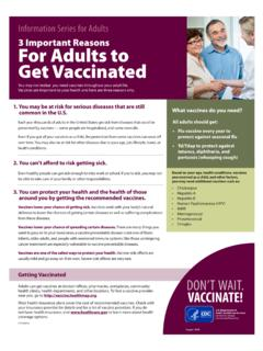 3 Important Reasons For Adults to Get Vaccinated Fact Sheet
