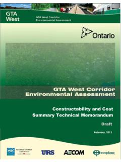 Cost and Constructability Report - GTA West Corridor