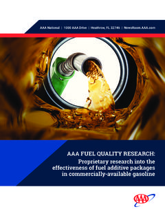 AAA FUEL QUALITY RESEARCH: Proprietary research into the ...