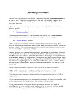 Critical Response Process - Write Site