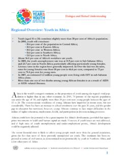 Regional Overview: Youth in Africa - DSPD Home page
