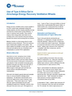 Use of Type A Silica Gel in Airxchange Energy Recovery ...