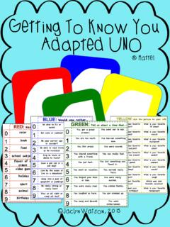 Getting To Know You Adapted UNO - The Language Lab