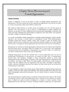 Chapter Seven: Bureaucracy and Formal Organizations