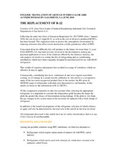 THE REPLACEMENT OF R-22 - refsols.com
