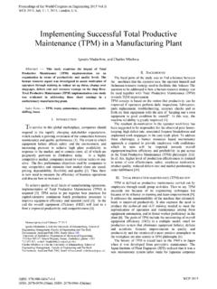 Implementing Successful Total Productive Maintenance …