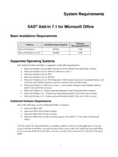 System Requirements--SAS® Add-In 7.1 for Microsoft Office