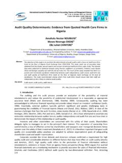 Audit Quality Determinants: Evidence from Quoted …