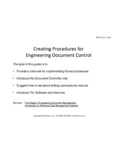 Creating Procedures for Engineering Document Control