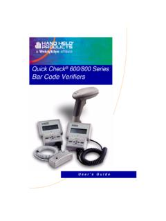 Quick Check 600/800 Series Bar Code Verifiers - HTZ
