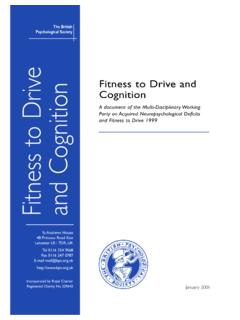 Fitness to Drive and Cognition - Assessment …