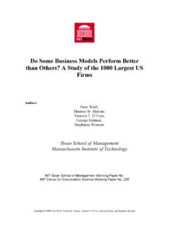 A Study of Business Models - MIT Sloan