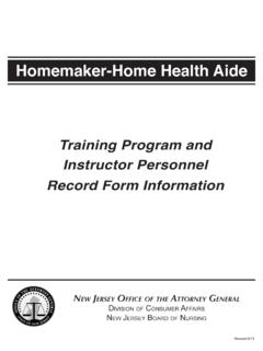 Homemaker-Home Health Aide - New Jersey Division of ...