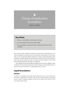 6 Choice of medication formulation - Pharmaceutical Press