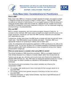 Body Mass Index: Considerations for Practitioners