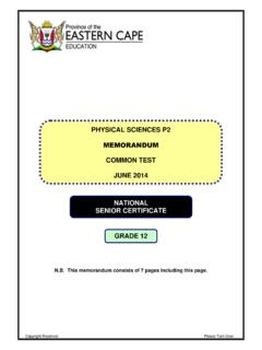 Grade 12 Physical Science Paper 2 Memorandum (June)