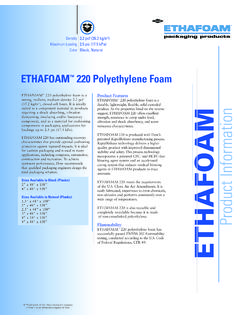 Product Features ETHAFOAM - Quality Foam
