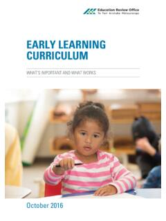 EARLY LEARNING CURRICULUM