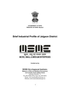 Brief Industrial Profile of Jalgaon District - DCMSME