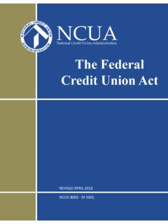 The Federal Credit Union Act - ncua.gov