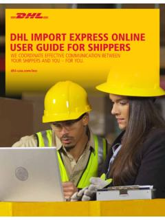 DHL IMPORT EXPRESS ONLINE USER GUIDE FOR …